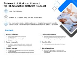 Statement Of Work And Contract For HR Automation Software Proposal Ppt File