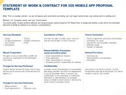 Statement Of Work And Contract For IOS Mobile App Proposal Template Ppt Slides
