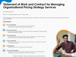 Statement Of Work And Contract For Managing Organizational Pricing Strategy Services Ppt File Design