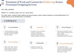 Statement Of Work And Contract For Mobile App Screen Prototypes Designing Services Ppt Tips