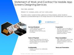 Statement Of Work And Contract For Mobile App Screens Designing Services Ppt Presentation Styles