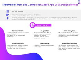Statement Of Work And Contract For Mobile App Ui UX Design Services Ppt Powerpoint Show