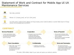Statement Of Work And Contract For Mobile App UI UX Maintenance Services Ppt Gallery