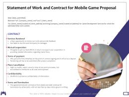 Statement Of Work And Contract For Mobile Game Proposal Plans Cancellation Ppt Powerpoint Icon