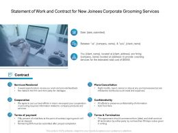 Statement Of Work And Contract For New Joinees Corporate Grooming Services Ppt Tips