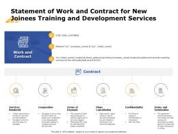 Statement Of Work And Contract For New Joinees Training And Development Services Ppt Tips