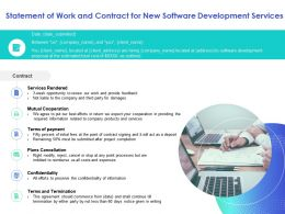 Statement Of Work And Contract For New Software Development Services Information Ppt Slides