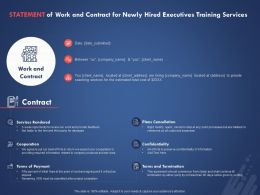 Statement Of Work And Contract For Newly Hired Executives Training Services Ppt Styles Sample