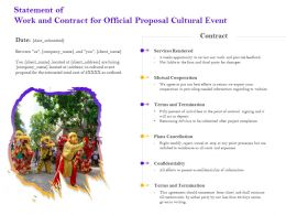 Statement Of Work And Contract For Official Proposal Cultural Event Ppt Powerpoint Ideas