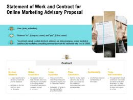Statement Of Work And Contract For Online Marketing Advisory Proposal Ppt Tips