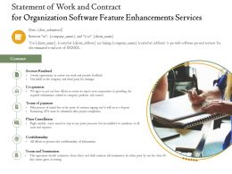 Statement Of Work And Contract For Organization Software Feature Enhancements Services Ppt Skill