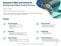 Statement Of Work And Contract For Posting Social Media Content Services Ppt Infographics