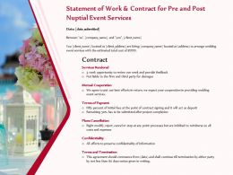 Statement Of Work And Contract For Pre And Post Nuptial Event Services Ppt Example File