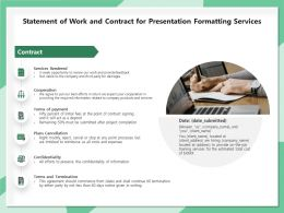 Statement Of Work And Contract For Presentation Formatting Services Ppt File Design