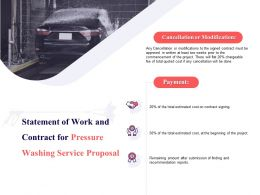Statement Of Work And Contract For Pressure Washing Service Proposal Ppt Slides