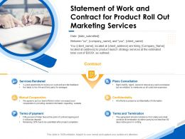 Statement Of Work And Contract For Product Roll Out Marketing Services Ppt Icon