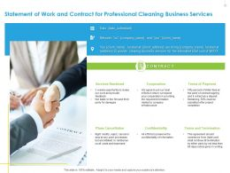 Statement Of Work And Contract For Professional Cleaning Business Services Ppt File Slides