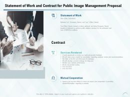 Statement Of Work And Contract For Public Image Management Proposal Ppt Slides