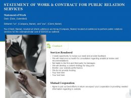 Statement Of Work And Contract For Public Relation Services Ppt Powerpoint Presentation