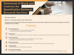 Statement Of Work And Contract For Quantitative Business Research Services Ppt Slides