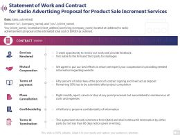 Statement Of Work And Contract For Radio Advertising Proposal For Product Sale Increment Services Ppt Slides