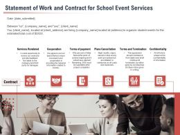 Statement Of Work And Contract For School Event Services Ppt Powerpoint Presentation Styles Skills