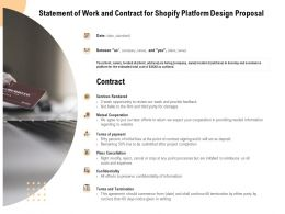 Statement Of Work And Contract For Shopify Platform Design Proposal Ppt Powerpoint Presentation