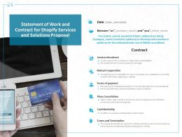 Statement Of Work And Contract For Shopify Services And Solutions Proposal Ppt Powerpoint Presentation