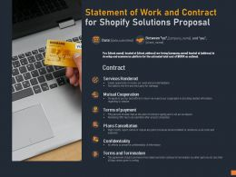 Statement Of Work And Contract For Shopify Solutions Proposal Ppt Powerpoint Presentation Pictures