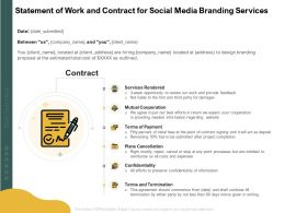 Statement Of Work And Contract For Social Media Branding Services Ppt Infographic