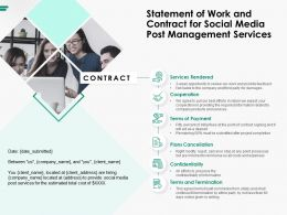 Statement Of Work And Contract For Social Media Post Management Services Ppt Background Image