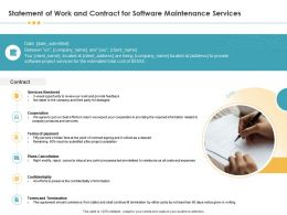 Statement Of Work And Contract For Software Maintenance Services Ppt Infographics
