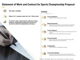Statement Of Work And Contract For Sports Championship Proposal Ppt Styles Skills