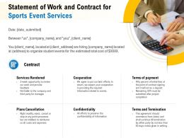 Statement Of Work And Contract For Sports Event Services Ppt Gallery Portfolio
