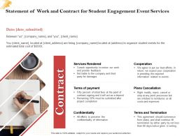 Statement Of Work And Contract For Student Engagement Event Services Ppt Powerpoint Aids