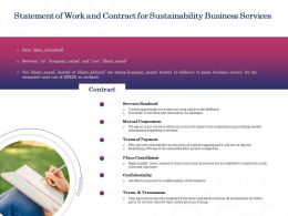 Statement Of Work And Contract For Sustainability Business Services Ppt Powerpoint Icons