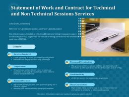 Statement Of Work And Contract For Technical And Non Technical Sessions Services Ppt Topics