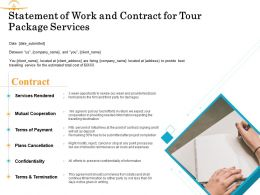 Statement Of Work And Contract For Tour Package Services Ppt Powerpoint Presentation