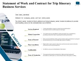 Statement Of Work And Contract For Trip Itinerary Business Services Ppt Powerpoint Grid