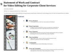 Statement Of Work And Contract For Video Editing For Corporate Client Services Ppt File Aids