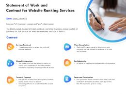 Statement Of Work And Contract For Website Ranking Services Ppt Powerpoint Model