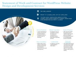 Statement Of Work And Contract For Wordpress Website Design And Development Services Ppt Icons