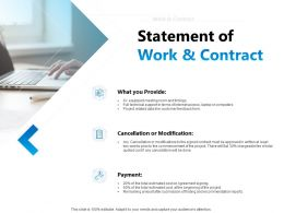 Statement Of Work And Contract Ppt Powerpoint Presentation Pictures Brochure