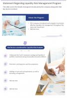 Statement Regarding Liquidity Risk Management Program Presentation Report Infographic PPT PDF Document