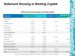 Statement Showing In Working Capital Ppt Layouts Background