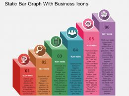 Static Bar Graph With Business Icons Flat Powerpoint Design