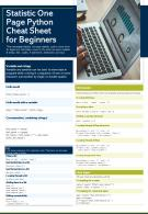 Statistic One Page Python Cheat Sheet For Beginners Presentation Report PPT PDF Document