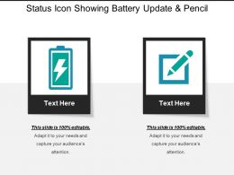 Status Icon Showing Battery Update And Pencil