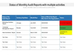 Status Of Monthly Audit Reports With Multiple Activities