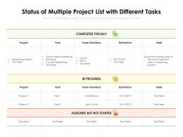 Status Of Multiple Project List With Different Tasks